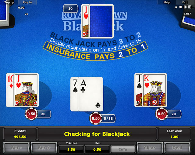 Online hra Royal Crown Blackjack zdarma